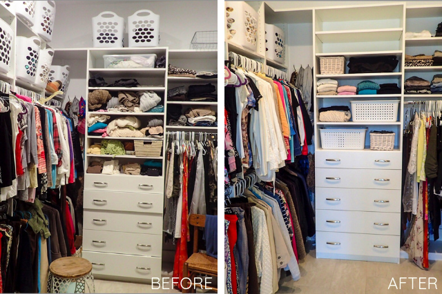 Client's closet before picture. Closet Organization by JAM Organizing: Professional Organizer in Wilmington, NC specializing in Home Organization and Home Office Organization. Blog Post: The More You Know: Organizing your Master Closet